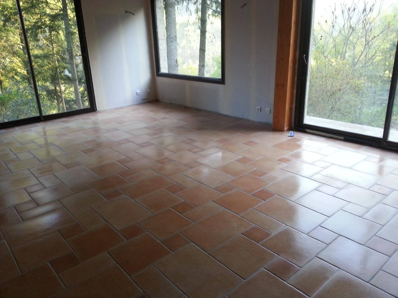 Pose de carrelage en opus romain