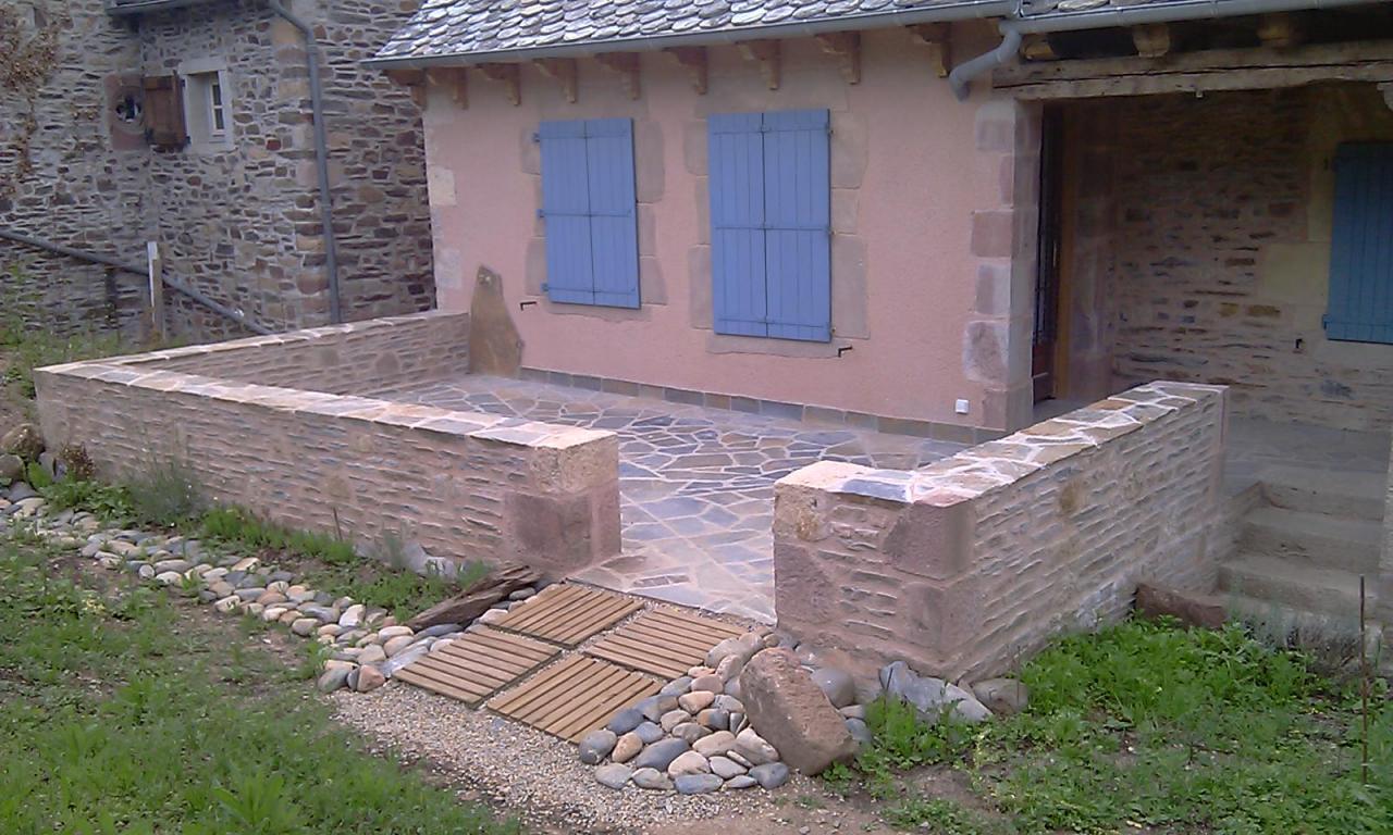Réalisation murets séparation terrasse